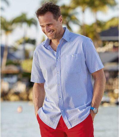 Men's Striped Seersucker Shirt - Blue White