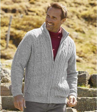 Polár bélésű cipzáras, kötött pulóver