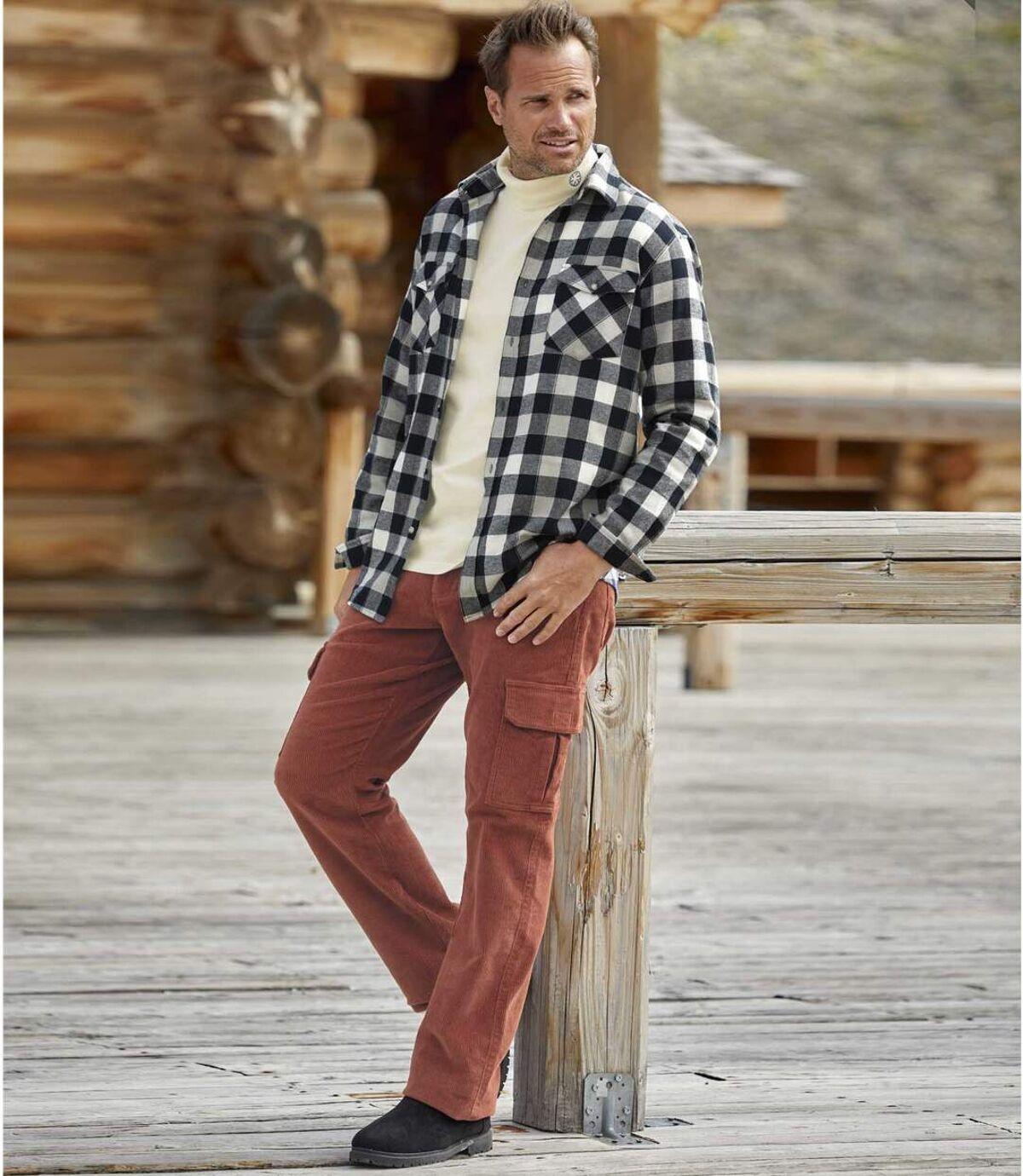 Tehlové menčestrové nohavice  Atlas For Men