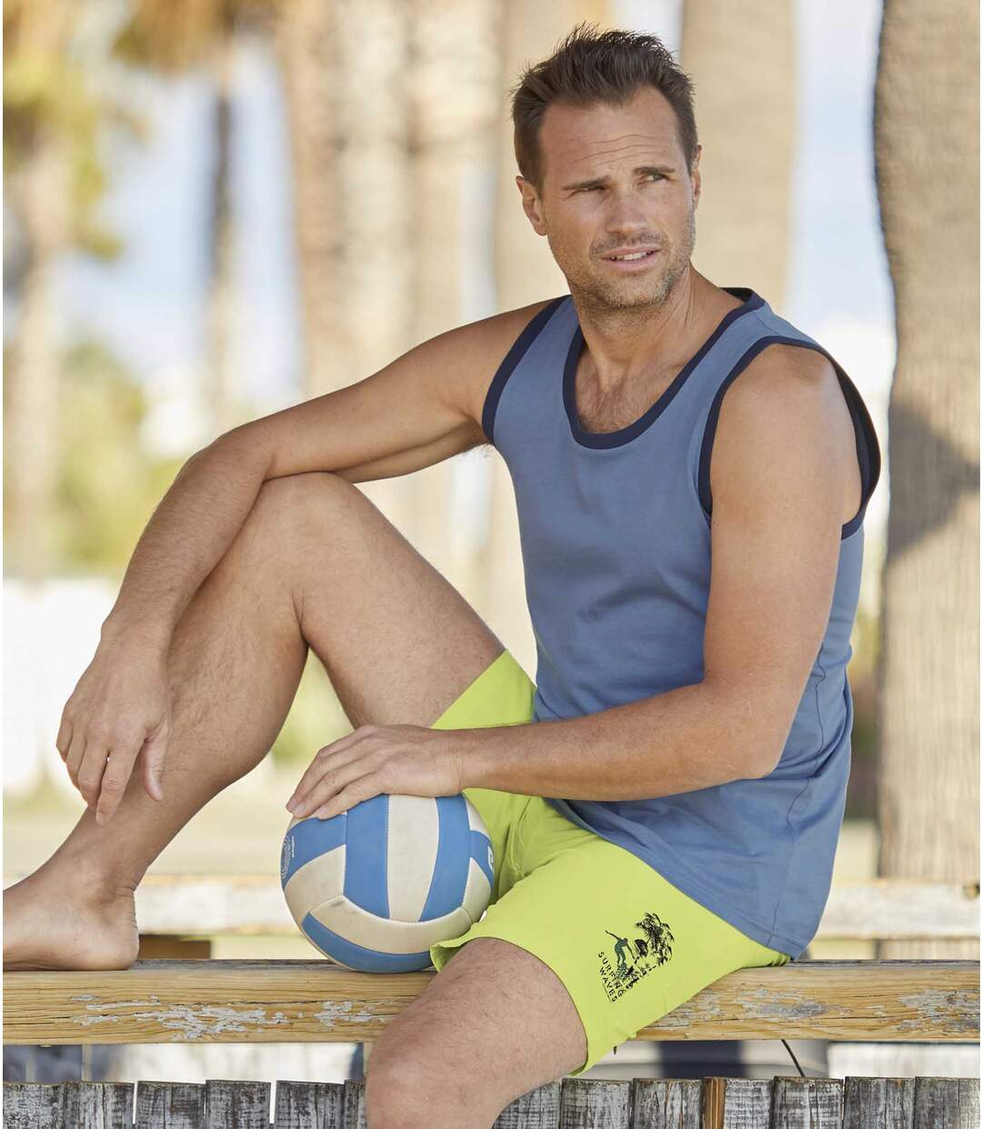 Pack of 2 Men's Swim Shorts - Blue Green