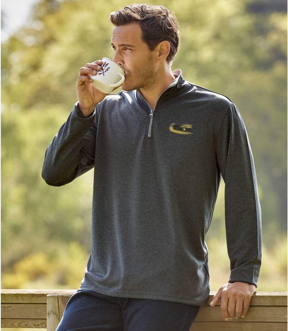 Sada 2 podvlékacích triček Outdoor se zipovým zapínáním ukrku Atlas For Men