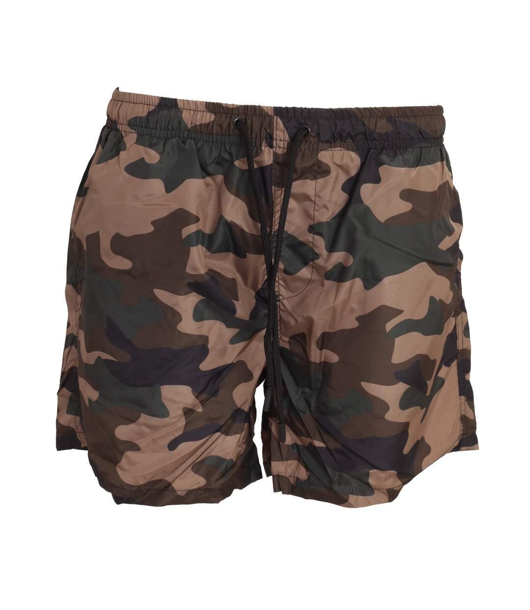 Brave Soul Mens Camouflage Print Swim Shorts (Khaki Camo) - UTSWIM650