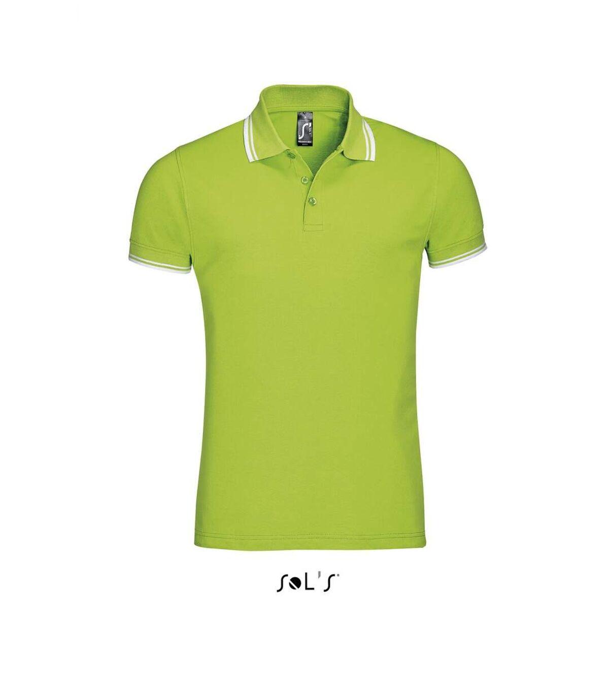 Polo homme coton - 00577 - vert lime et bande blanche