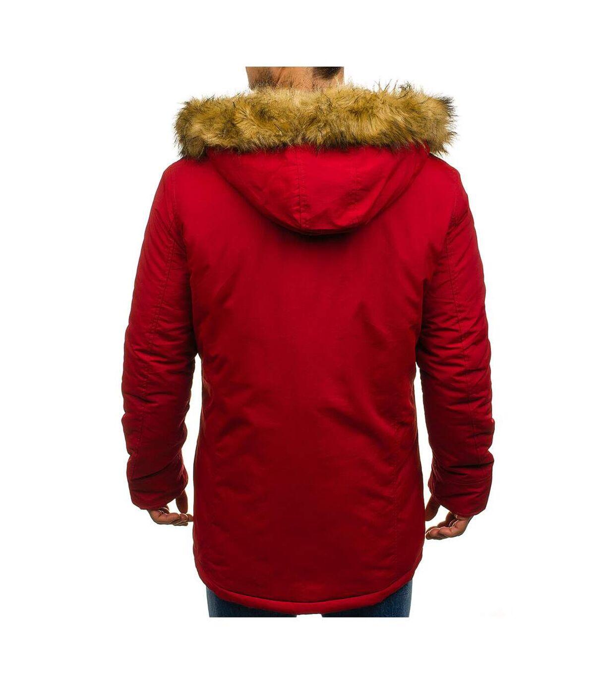 Parka capuche fourrure amovible Parka M928 rouge