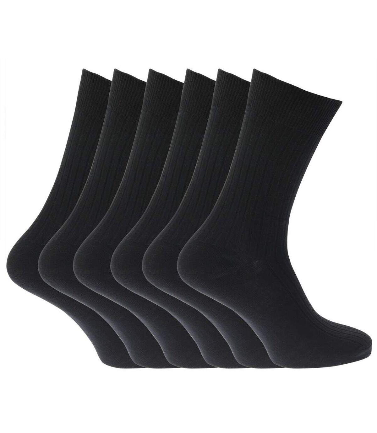 Mens 100% Cotton Ribbed Classic Socks (Pack Of 6) (Black) - UTMB144