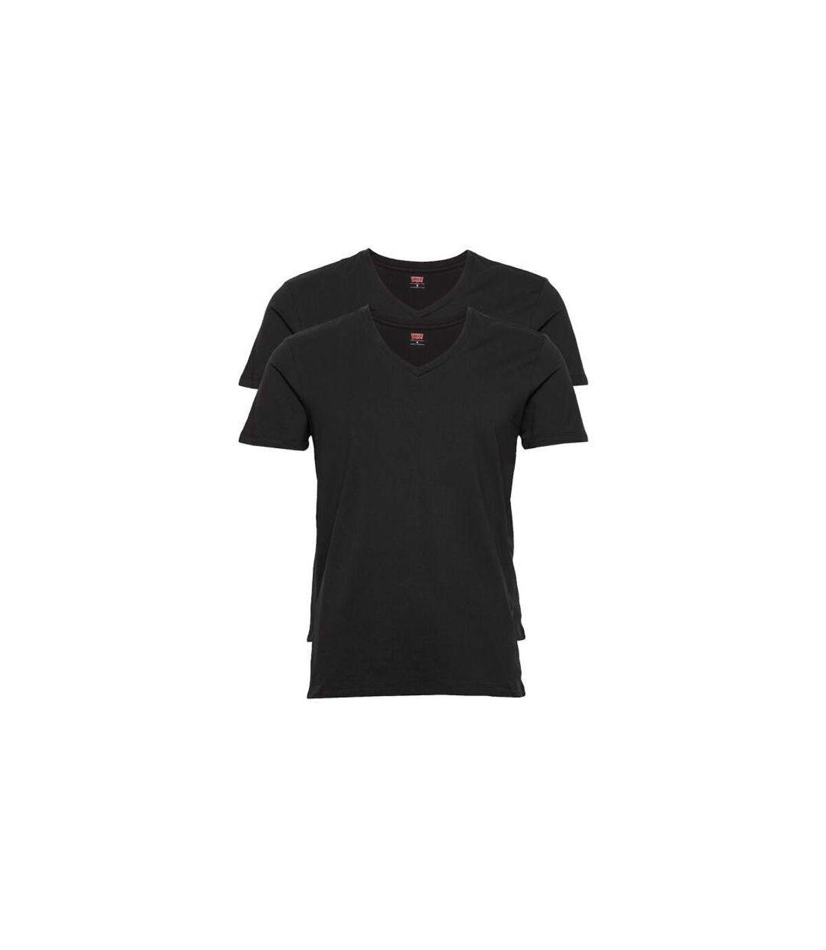 LEVI'S lot de 2 T-shirts Col V Homme Coton SOLIDV Noir