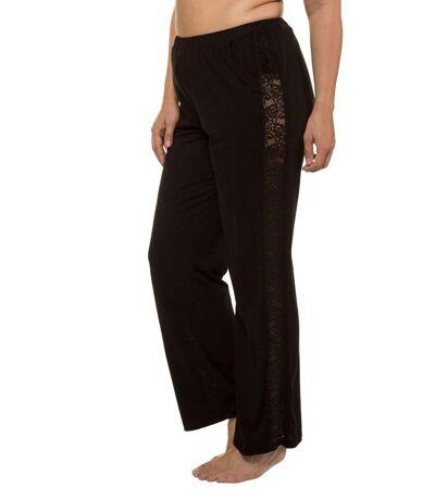 ULLA POPKEN homewear pantalon avec insertion de dentelle sur le côté, mélange de modal noir NEW