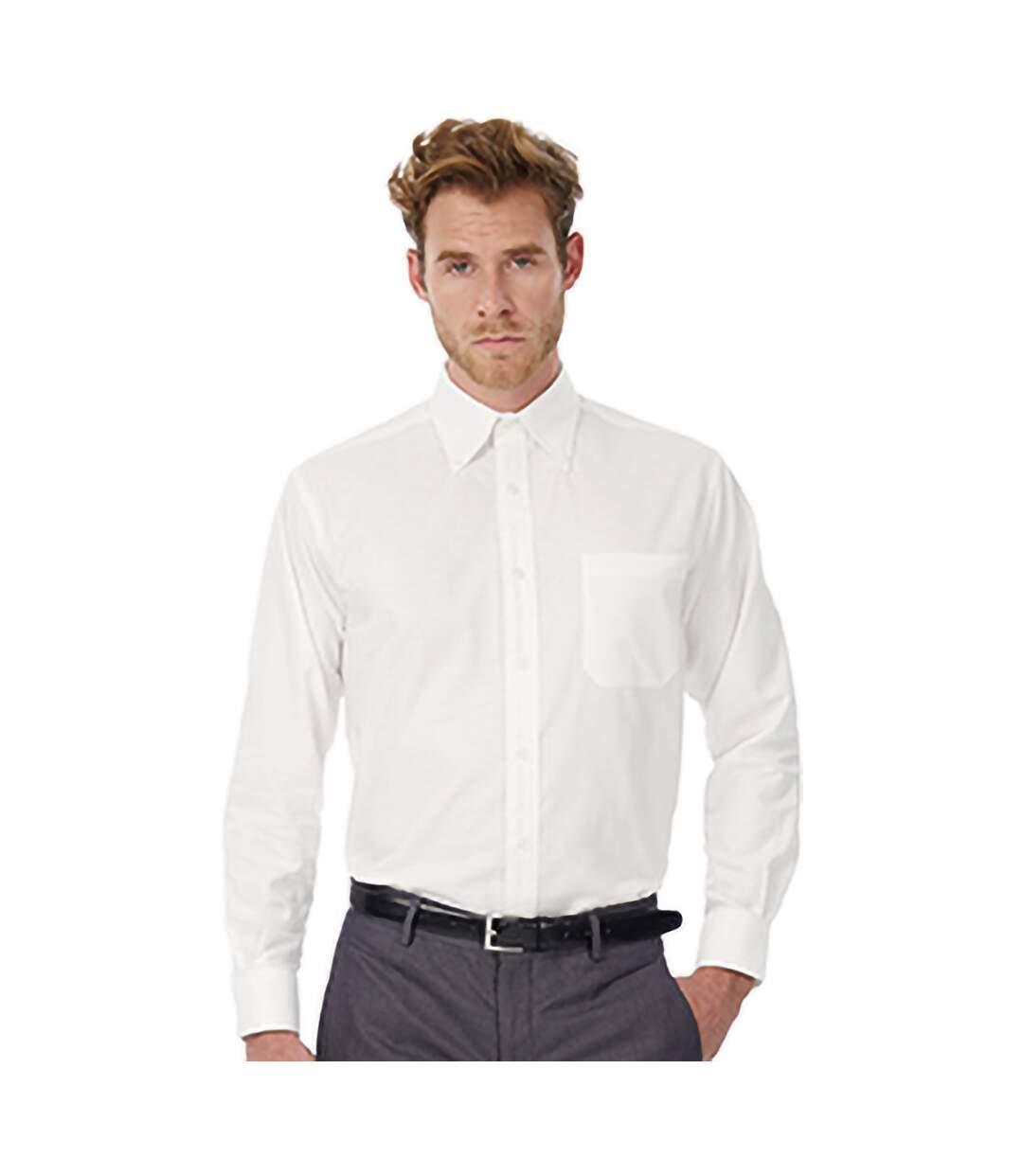 B&C Mens Oxford Long Sleeve Shirt / Mens Shirts (White) - UTBC105