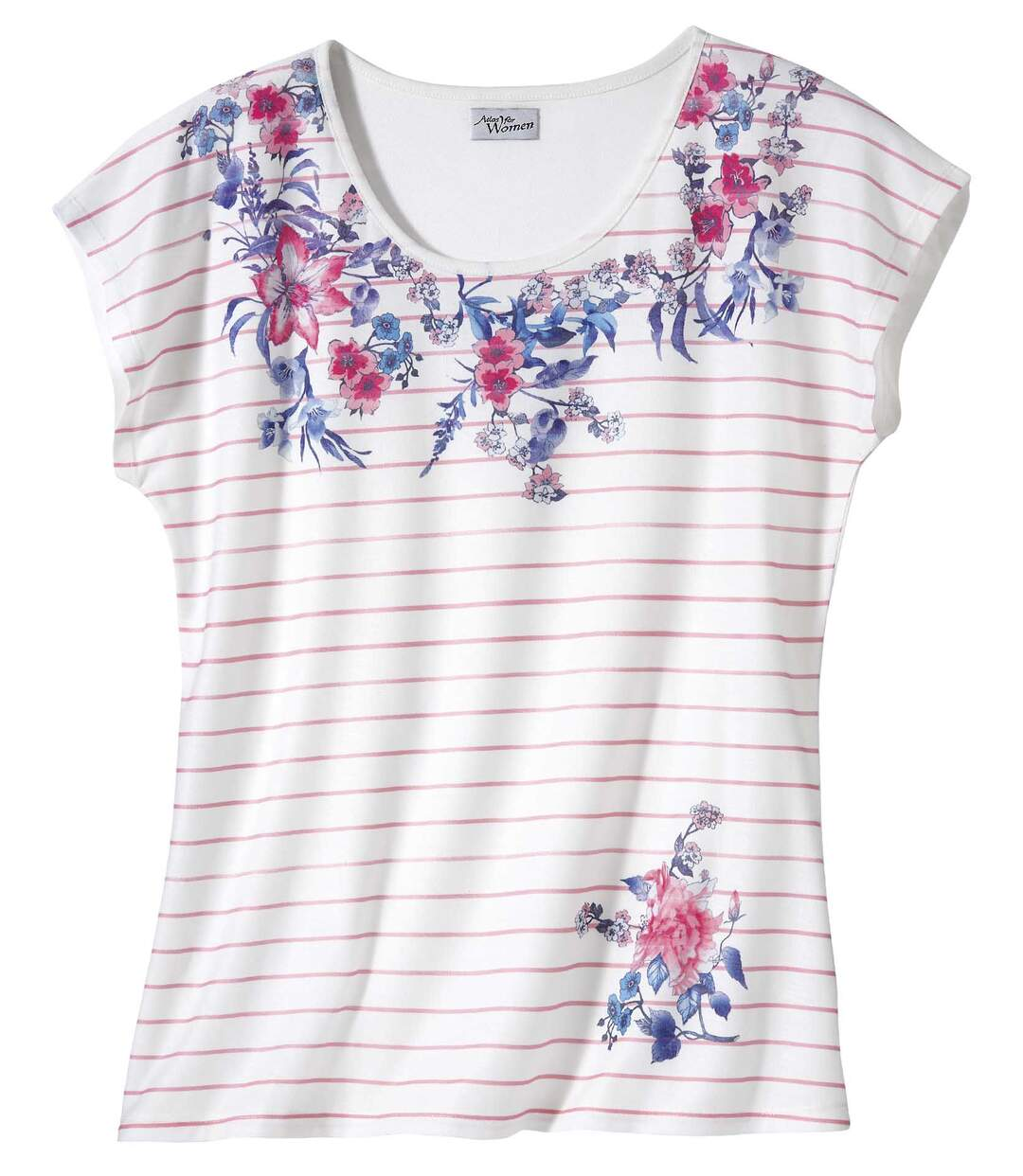 Women's Floral Striped Print T-Shirt