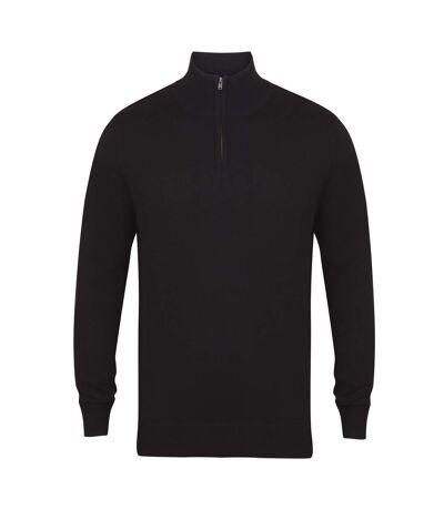 Henbury Mens 1/4 Zip Long Sleeve Jumper (Black) - UTRW5289