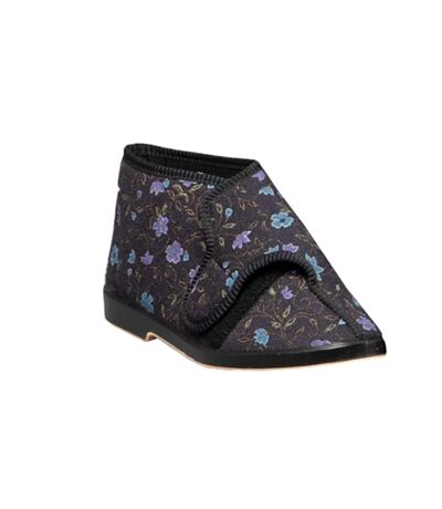 GBS Bella Ladies Wide Fit Slipper / Womens Slippers (Black) - UTFS118