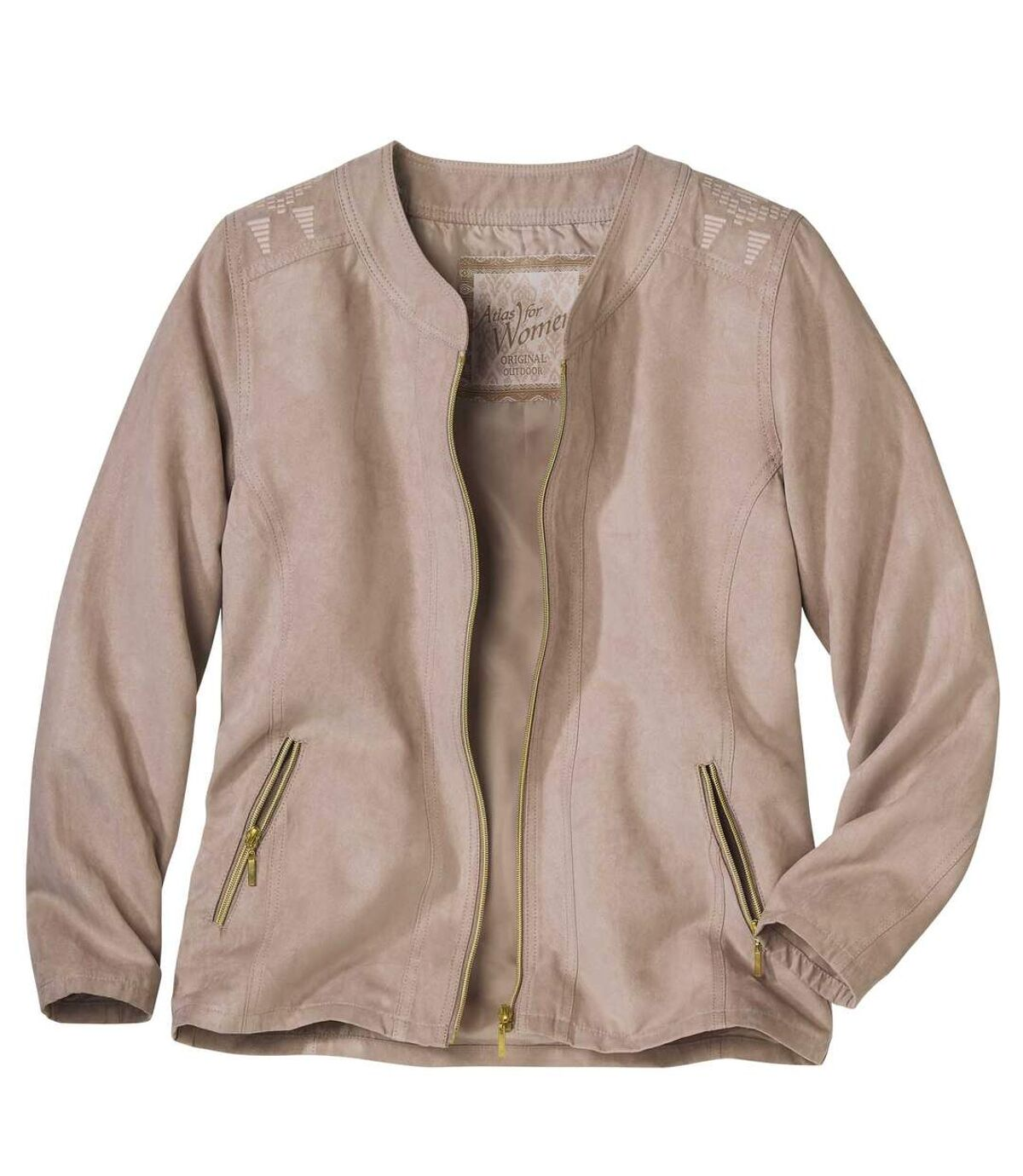 Women's Powder Pink Zip Up Jacket - Faux Suede Atlas For Men