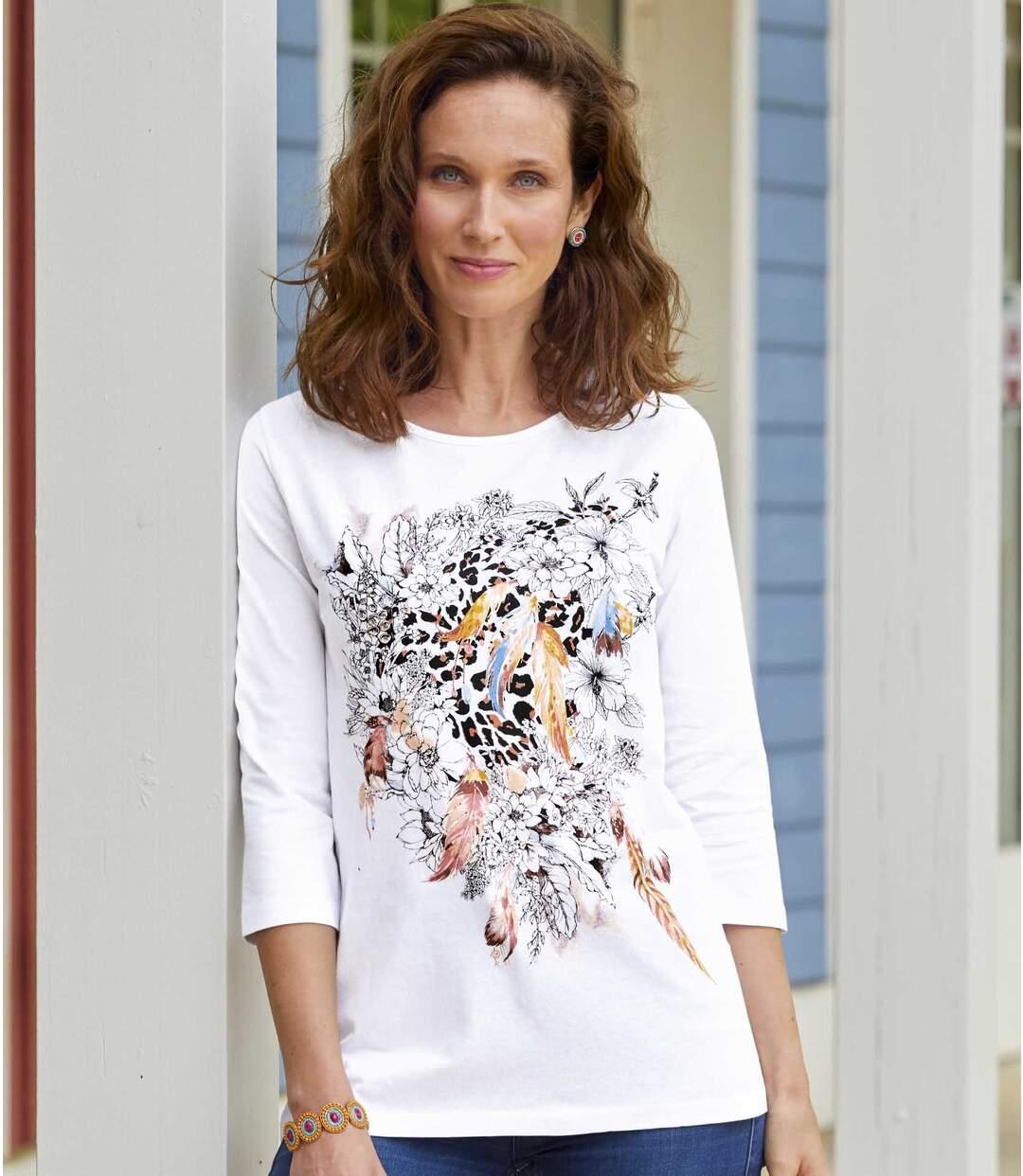 Divatos, nyomtatott mintás póló