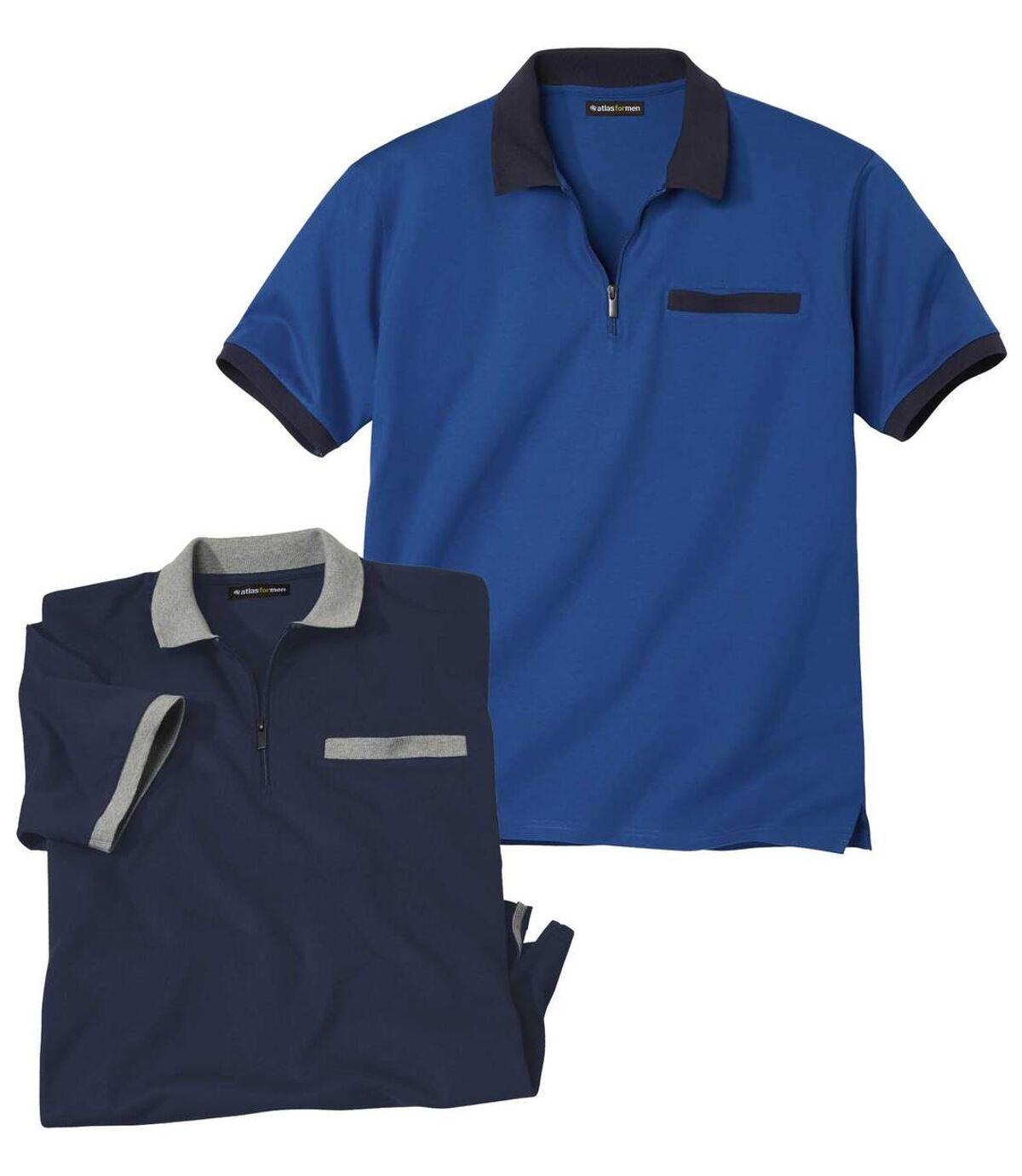 Pack of 2 Men's Atlas For Men® Polo Shirts - Navy Blue Atlas For Men