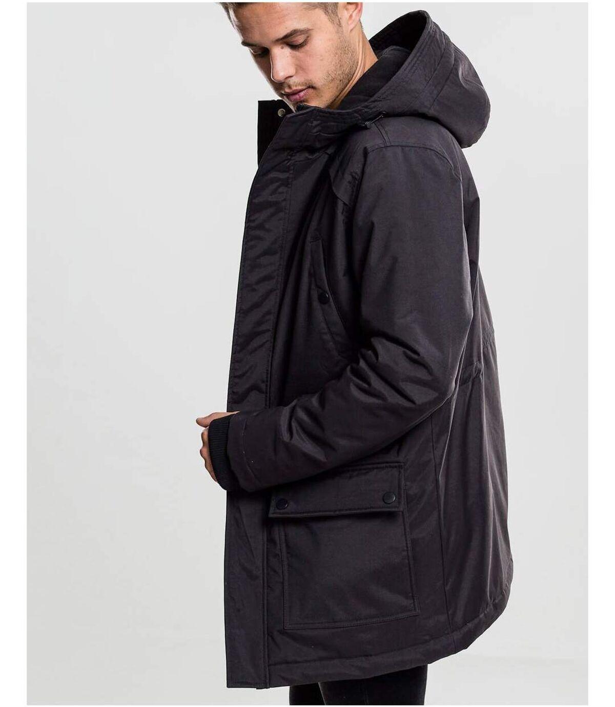 Parka zippée noire à capuche avec doublure polaire pour Homme