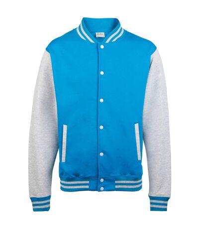 Awdis Unisex Varsity Jacket (Sapphire Blue/ Heather Grey) - UTRW175