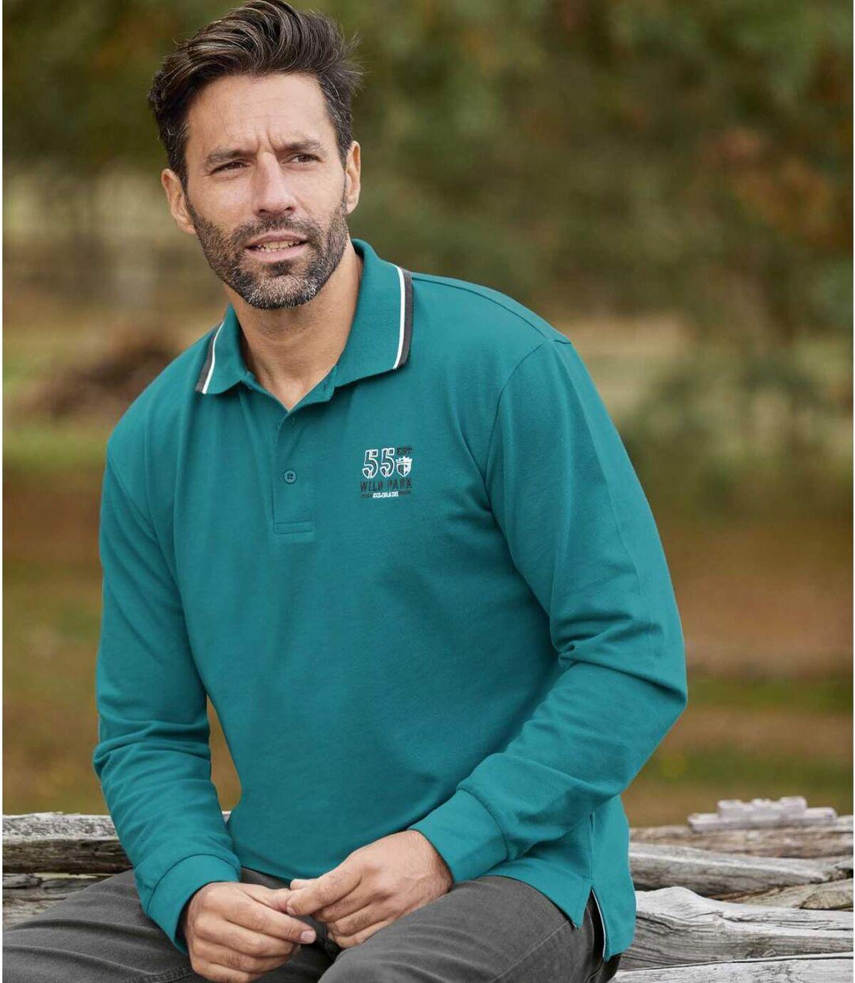 Pack of 2 Men's Long-Sleeved Piqué Polo Shirts - Green Gray Atlas For Men