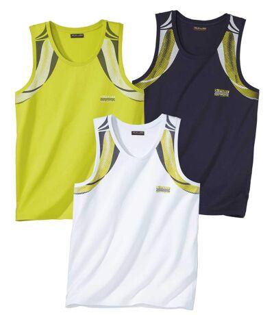 Pack of 3 Men's Summer Sports Vests - Navy green White