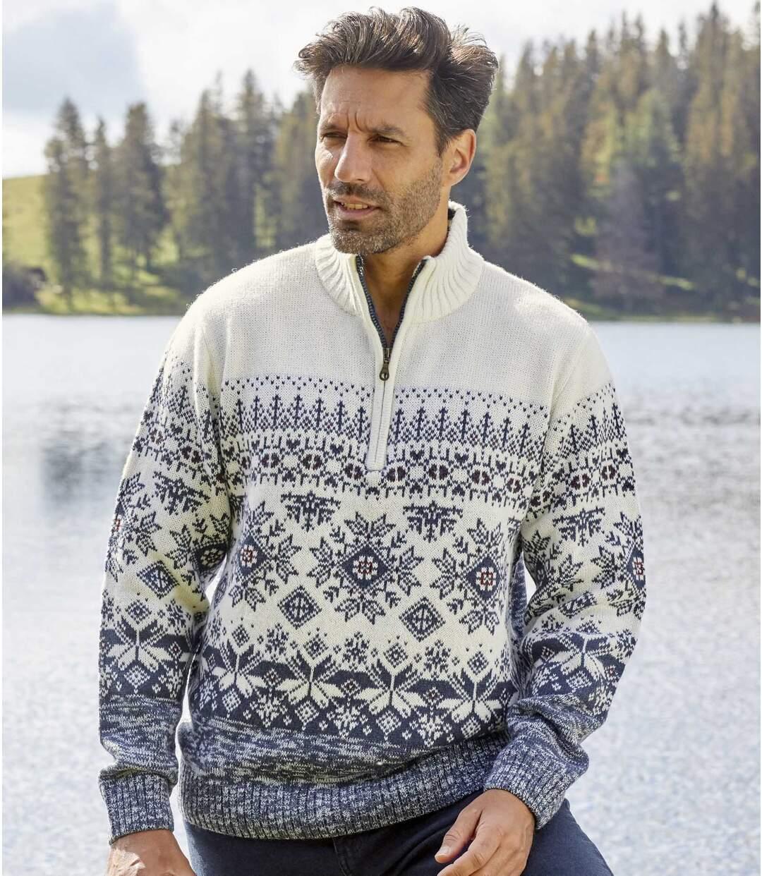 Jacquard mintás, magas, cipzáras nyakú kötött pulóver