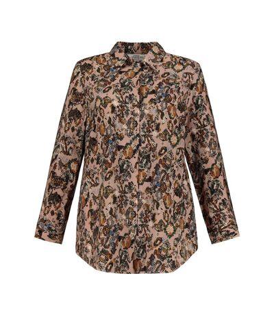 ULLA POPKEN chemisier blouse imprimé serpent multicolore NEW
