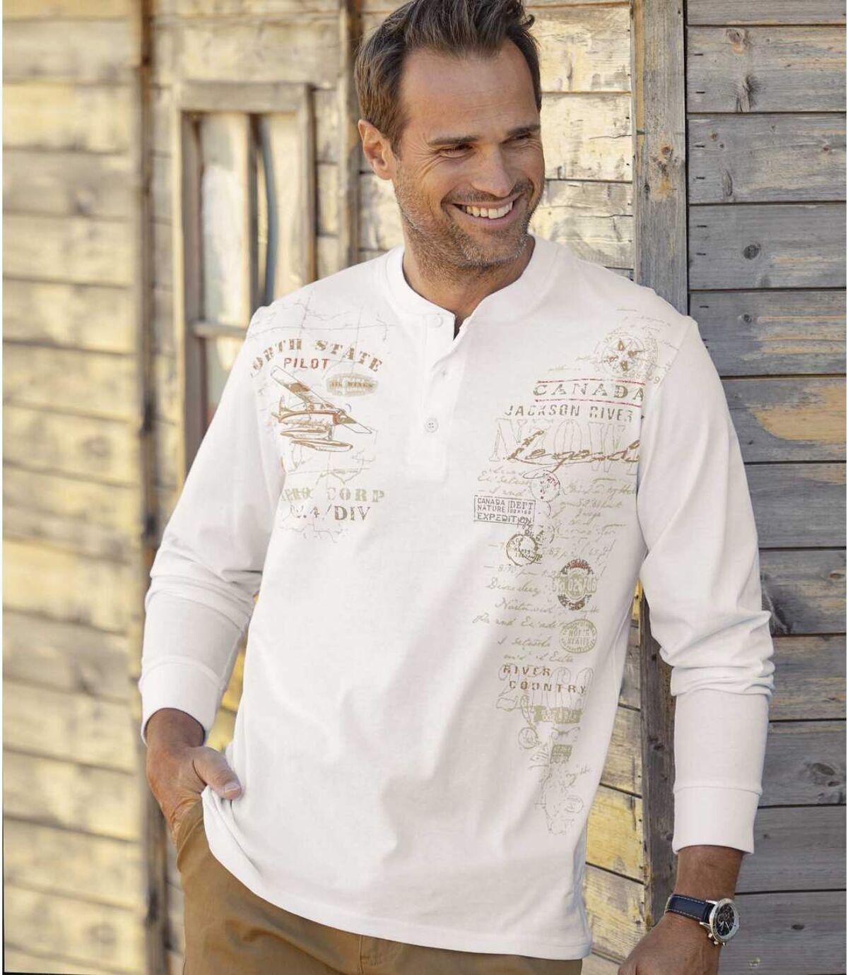 Zestaw 2 t-shirtów z długimi rękawami i dekoltem z guzikami Atlas For Men