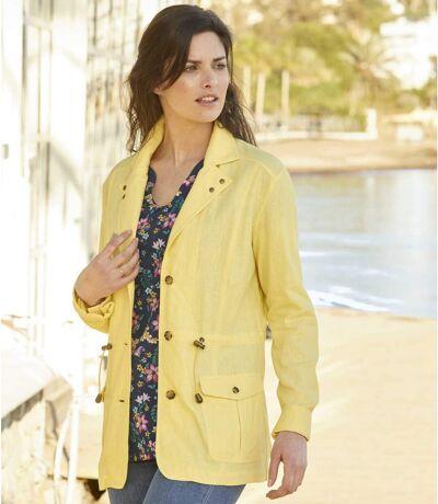 Women's Linen and Viscose Safari Jacket - Yellow