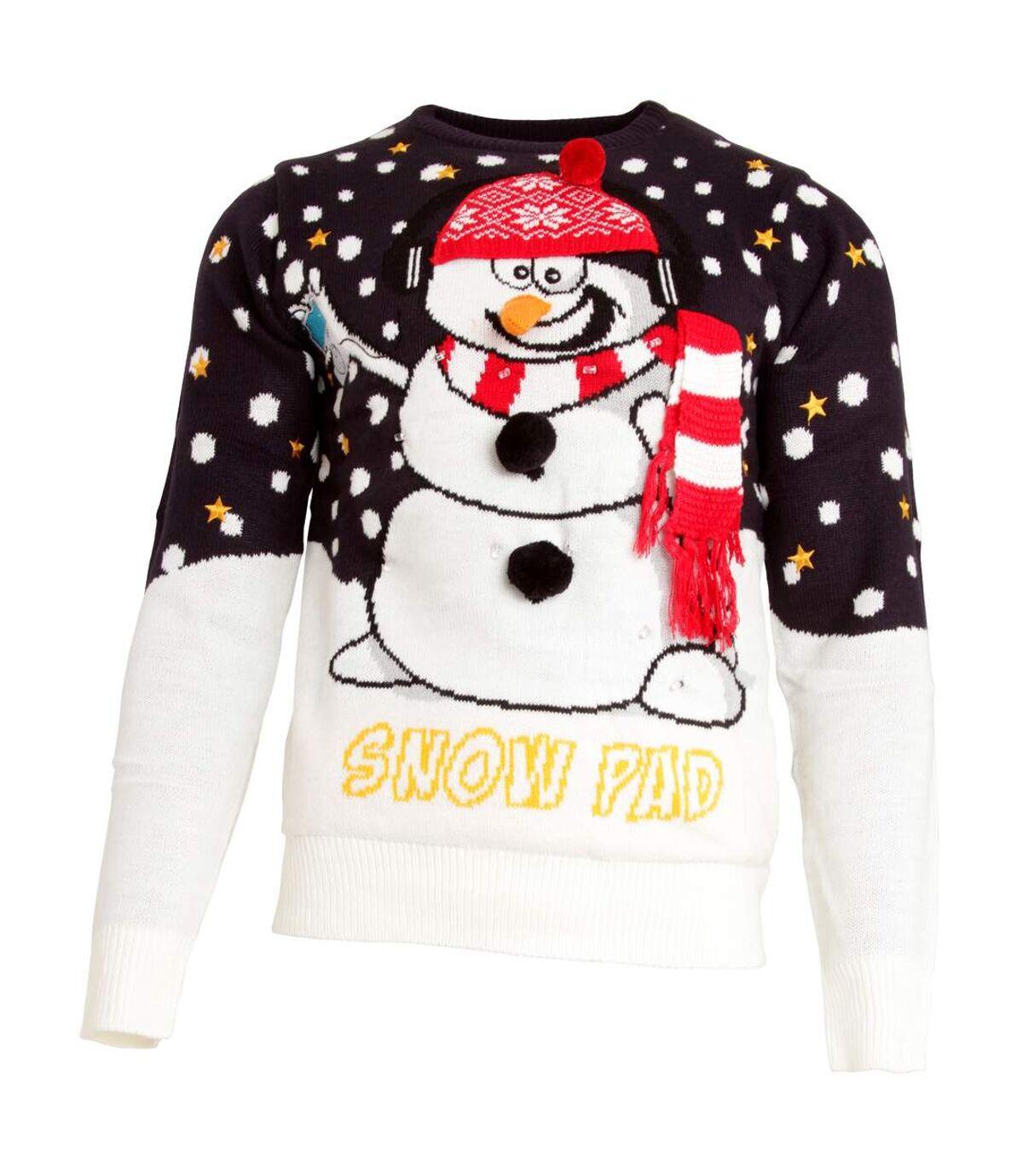 Brave Soul Mens Light Up 3D Snowman Knitted Christmas Jumper (Navy/White) - UTXM125
