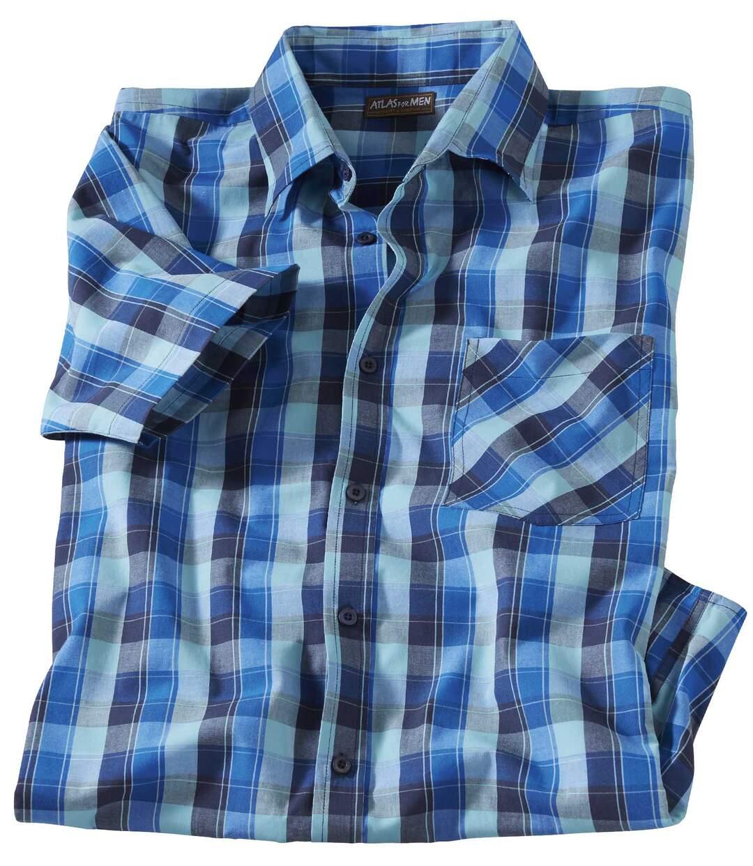 Lazurowa popelinowa koszula w kratę
