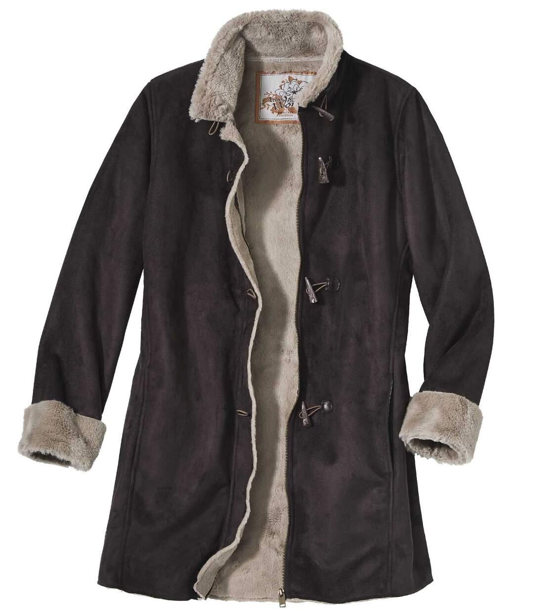 Suèdine jas met voering van imitatiebont