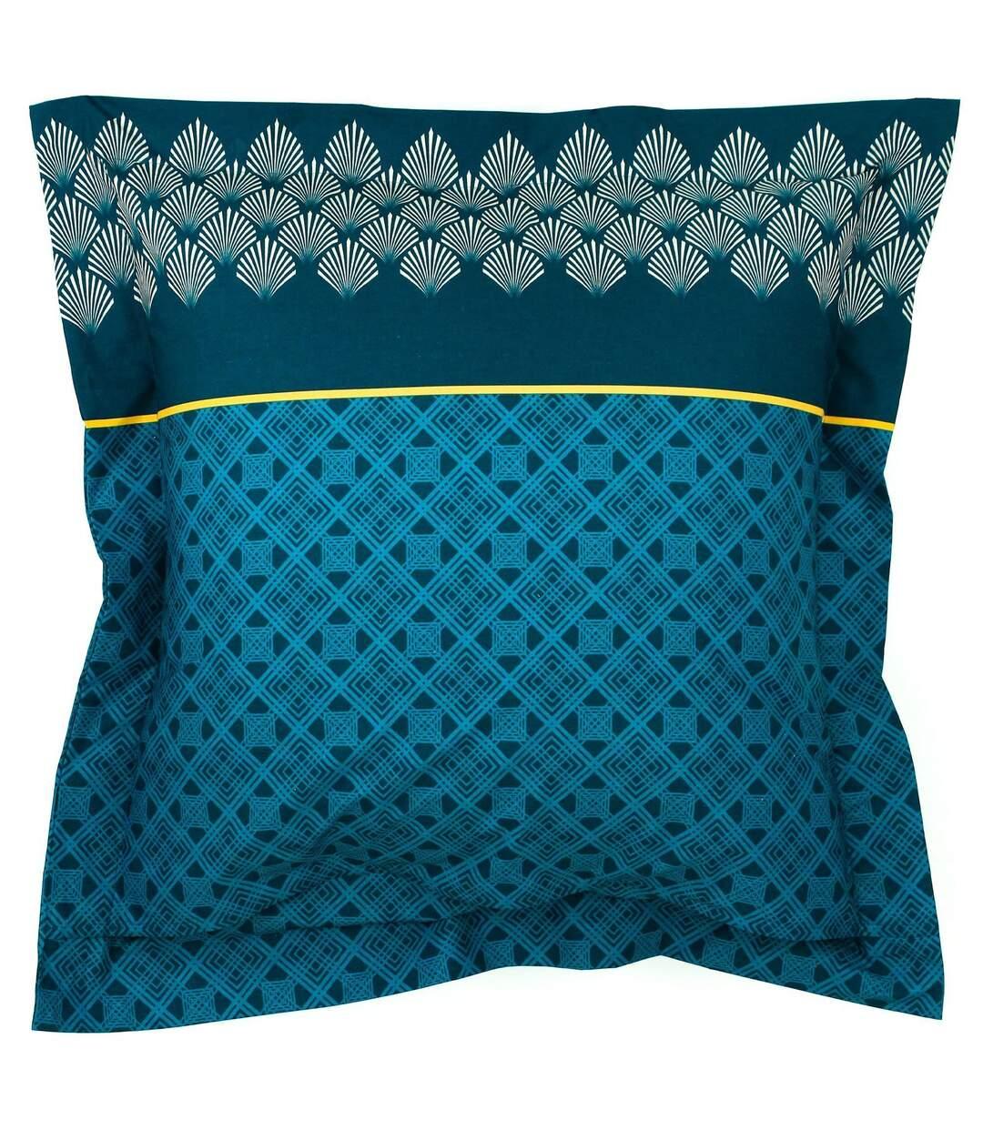 Parure de lit 200x200 cm 100% coton TALISMAN bleu Paon 3 pièces