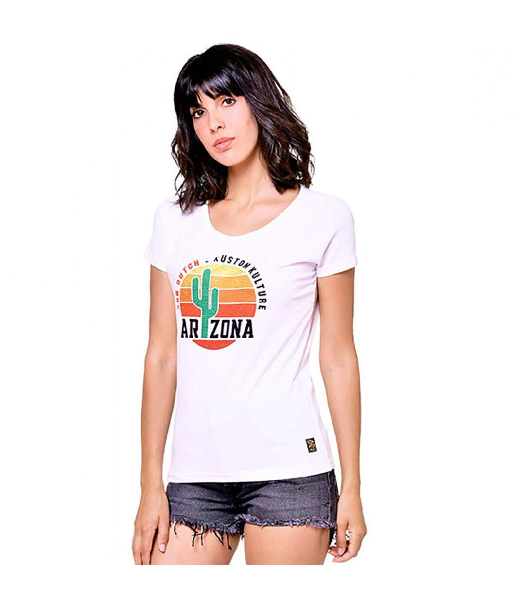 T-shirt col rond et strass Arizona