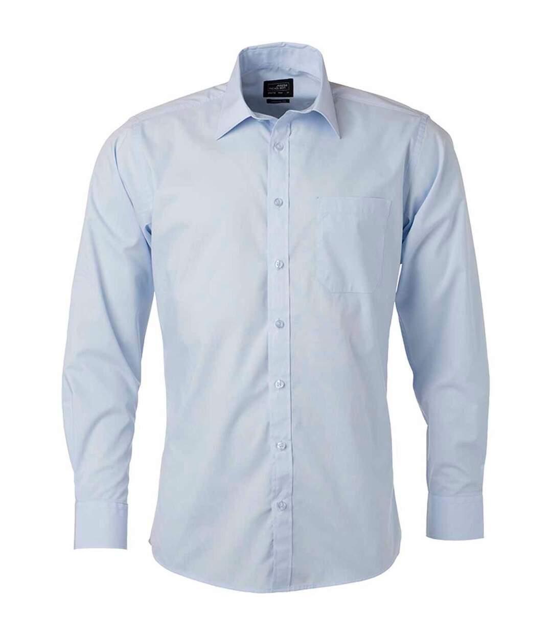 chemise popeline manches longues - JN678 - homme - bleu clair