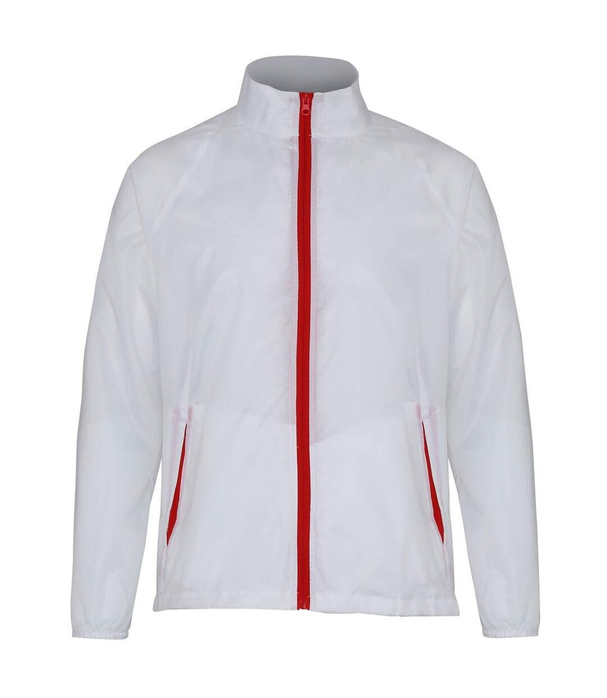 2786 Mens Contrast Lightweight Windcheater Shower Proof Jacket (Pack of 2) (White/ Red) - UTRW7001