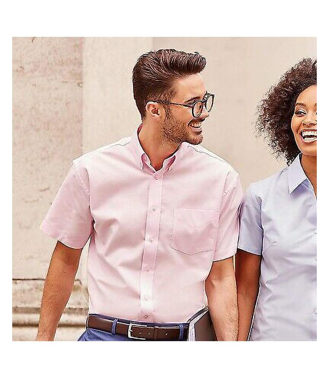 Russell Collection Mens Short Sleeve Easy Care Oxford Shirt (Classic Pink) - UTBC1025