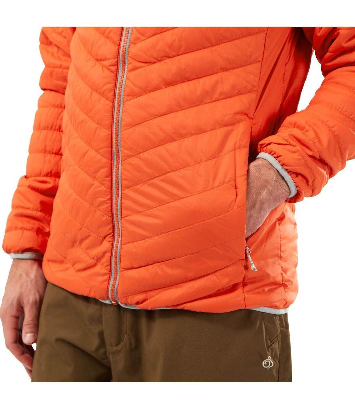 Craghoppers Mens Compresslite V Hooded Padded Jacket (Marmalade/Cloud Grey) - UTCG1473