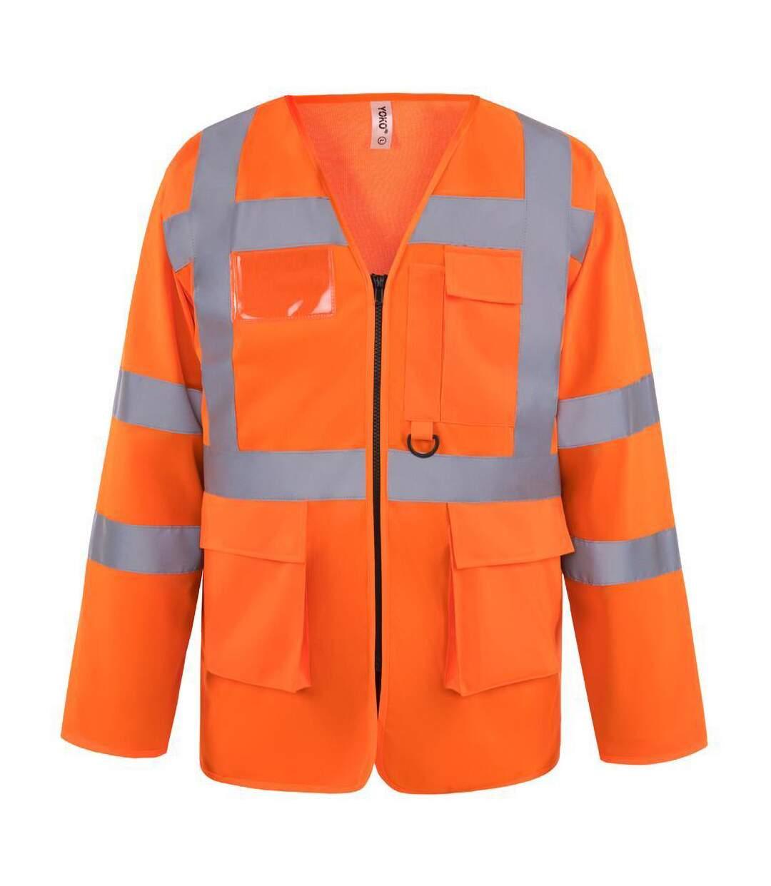 Yoko Mens Executive Hi-Vis Long Sleeve Safety Waistcoat (Pack of 2) (Hi Vis Orange) - UTBC4397