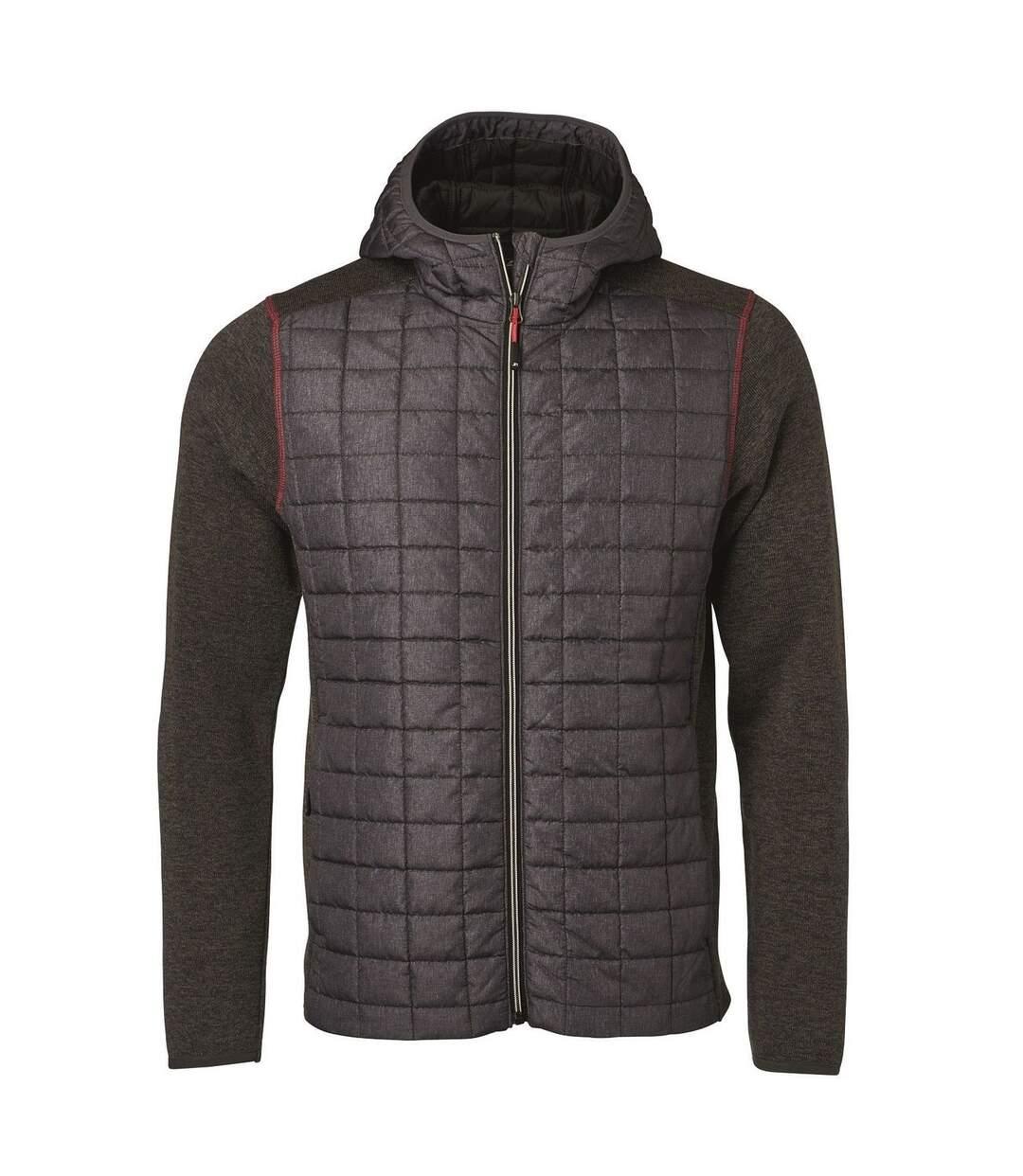 Veste tricot hybride matelassée - homme - JN772 - gris foncé mélange