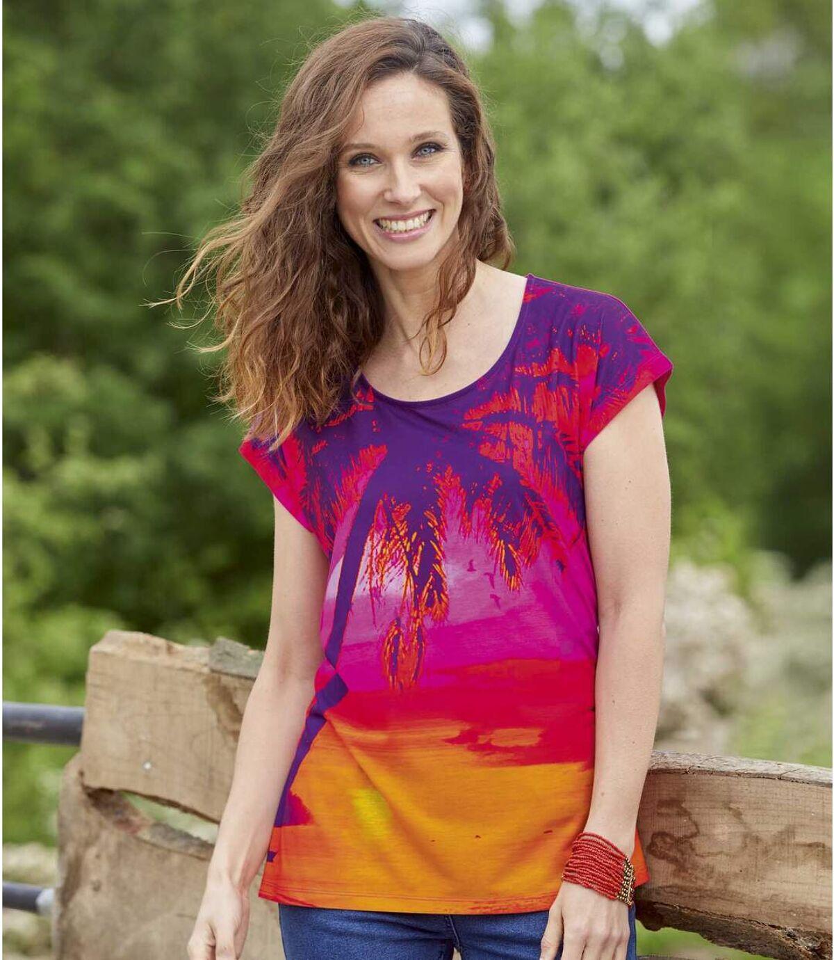 Women's Multi-Coloured Sunset T-Shirt Atlas For Men