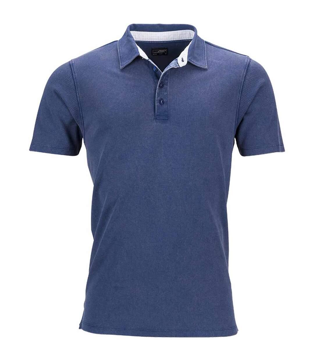 Polo homme manches courtes col imprimé - JN712 - bleu marine