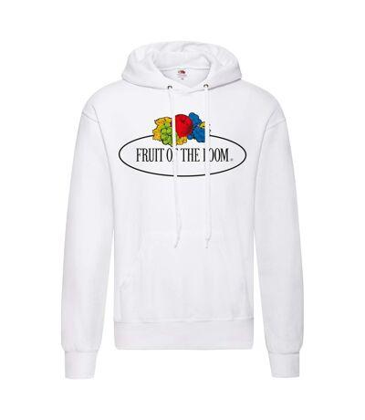 Fruit of the Loom Mens Large Logo Vintage Hoodie (White) - UTPC4351