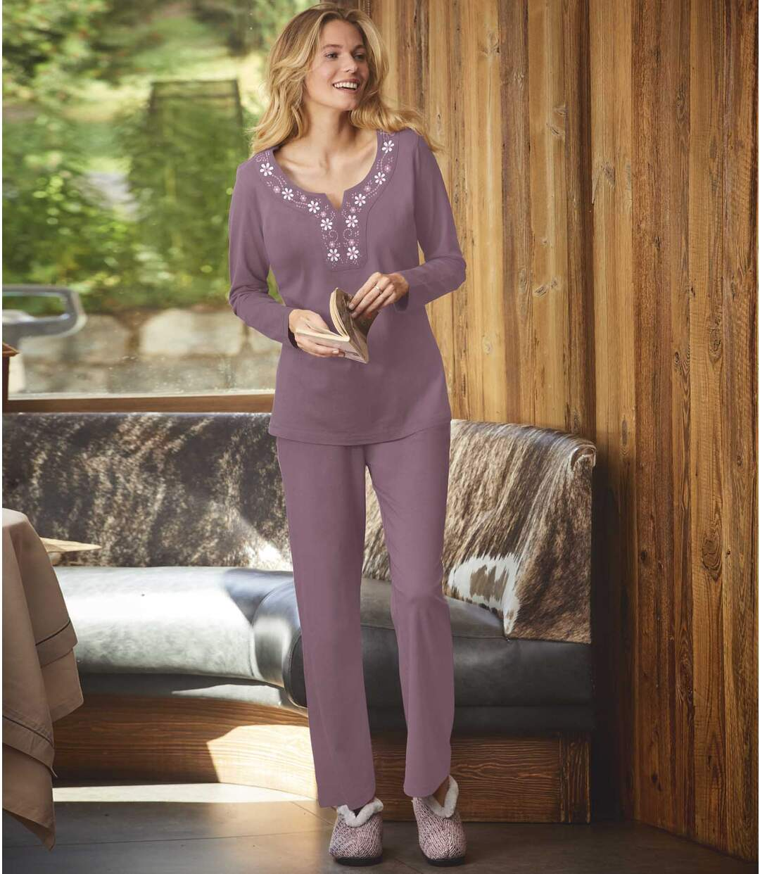 Bavlnené pyžamo  so saténovou stuhou