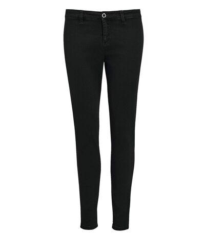pantalon toile stretch femme - 01425 7-8ème - noir