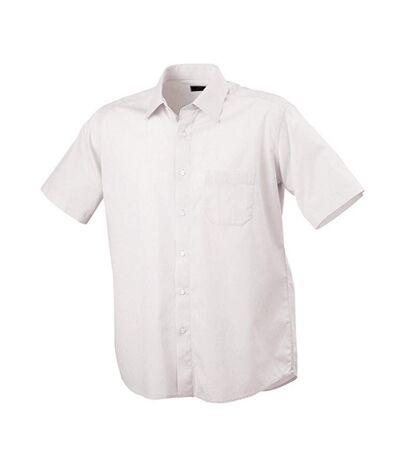 James and Nicholson Mens Classic Fit Short Sleeved Shirt (White) - UTFU438