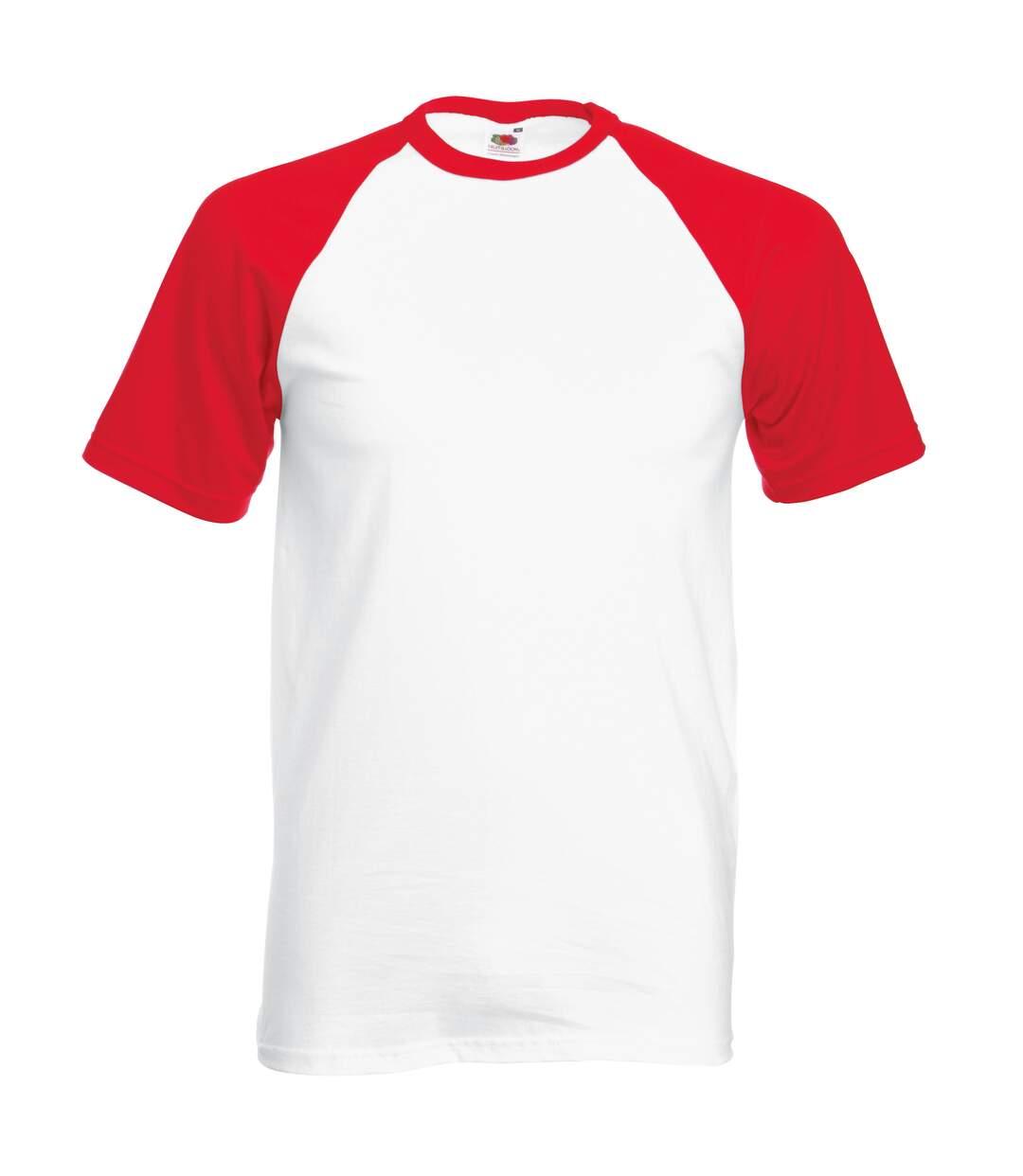 Fruit Of The Loom Mens Short Sleeve Baseball T-Shirt (White/Red) - UTBC327