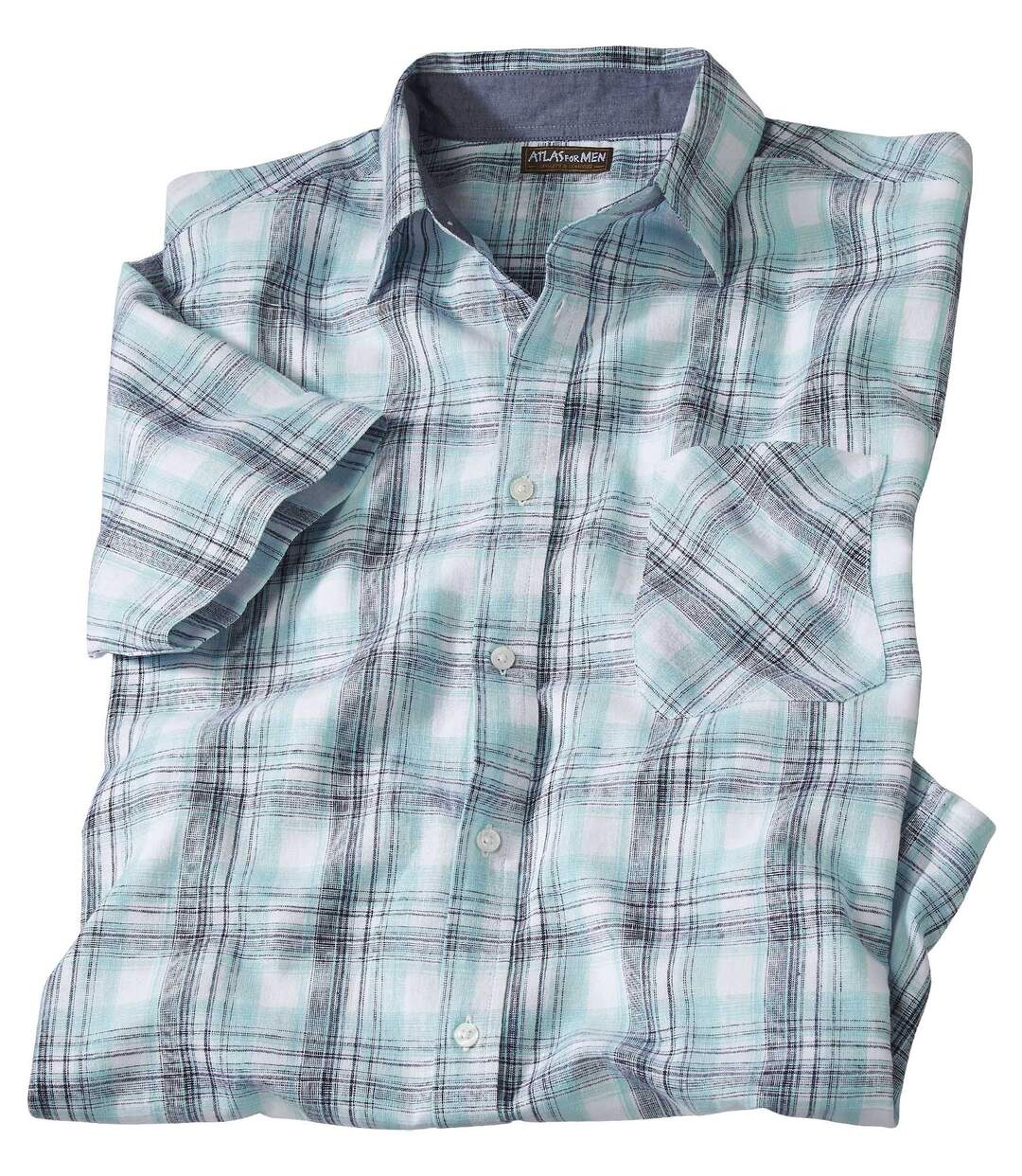Lniano-bawełniana koszula w kratę
