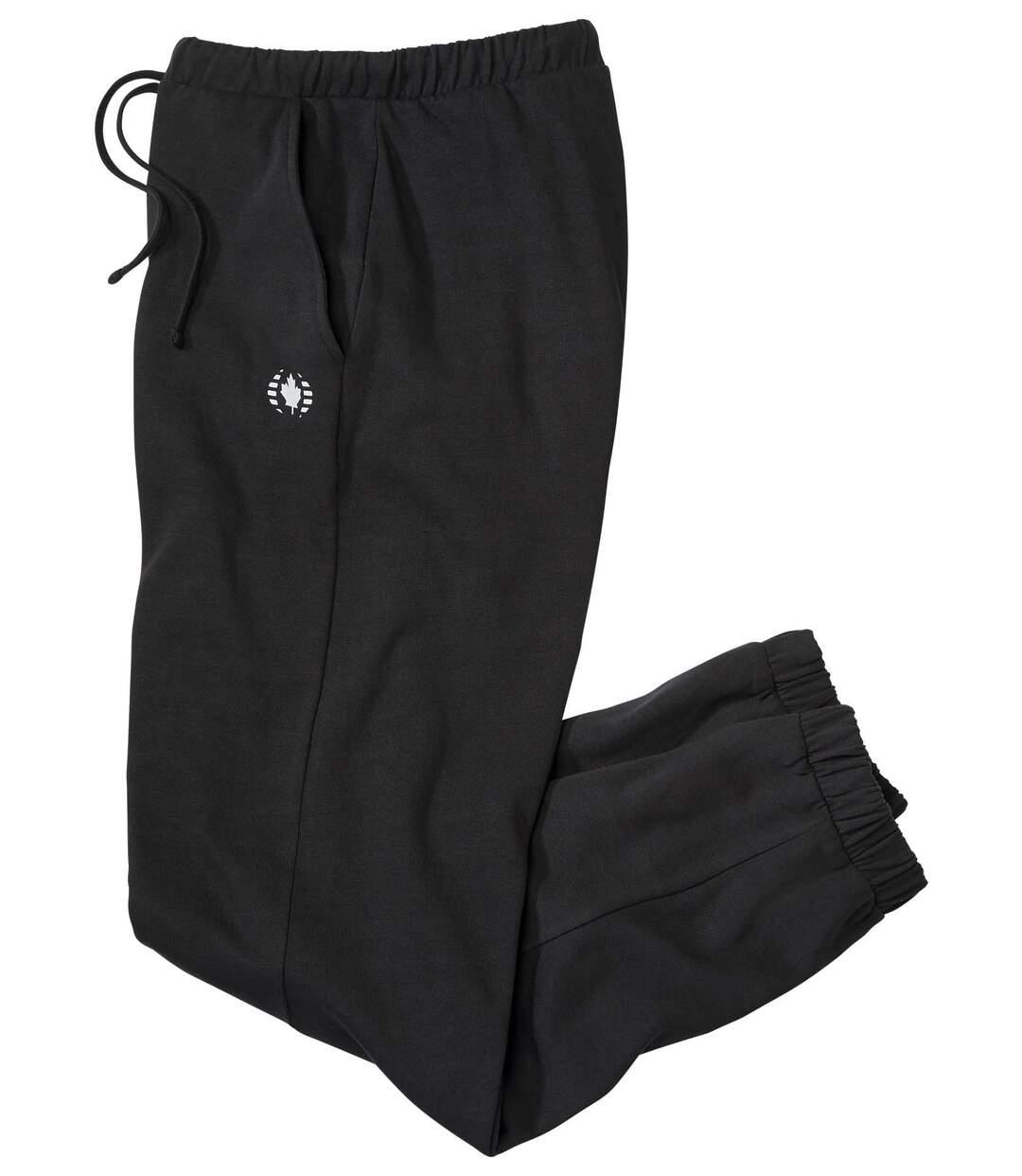 Men's Black Sporty Brushed Fleece Joggers