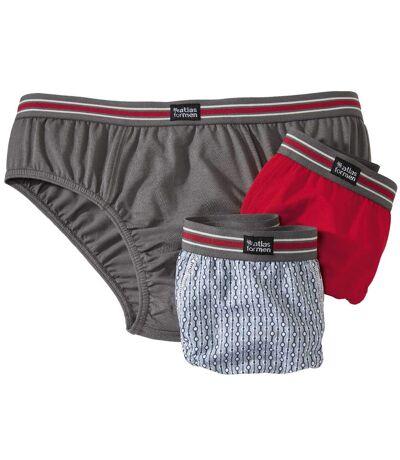 Pack of 3 Men's Comfort Briefs - Red Grey Blue