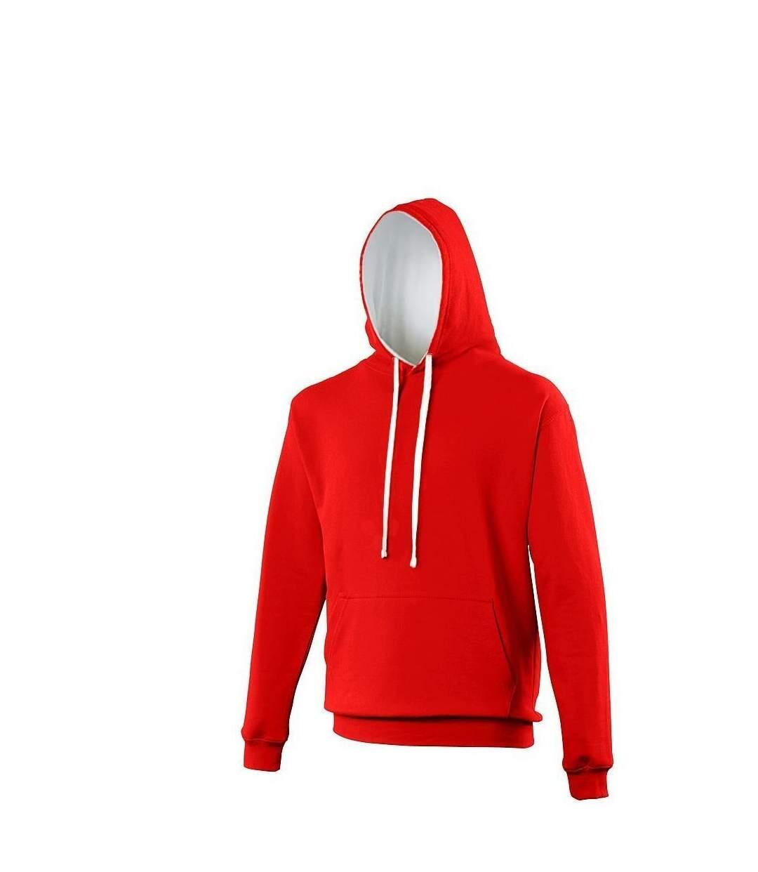 Sweat à capuche contrastée unisexe - JH003 - rouge et blanc