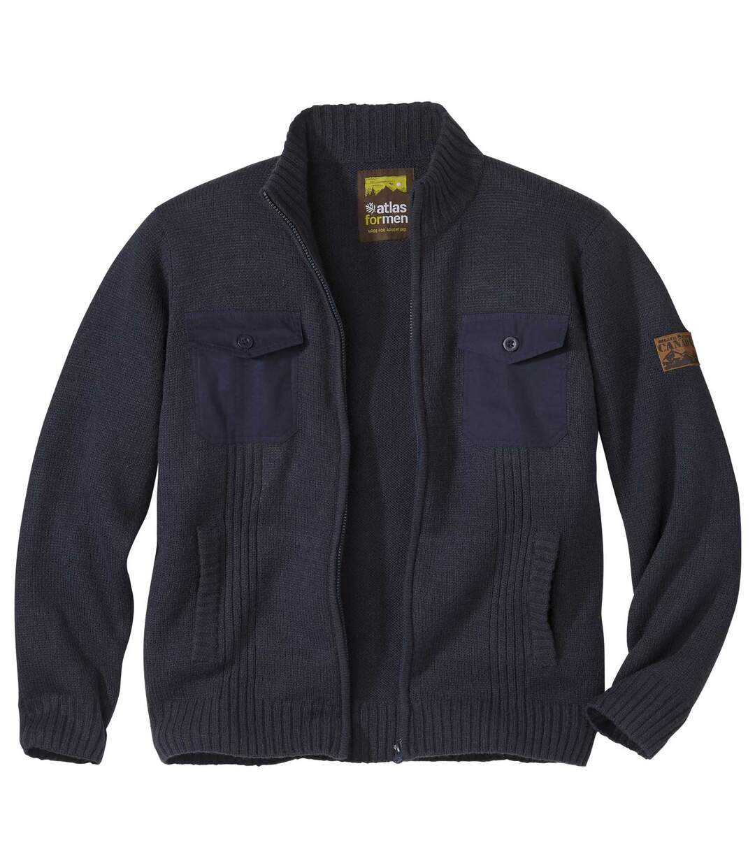 Men's Navy Knitted Canada Jacket