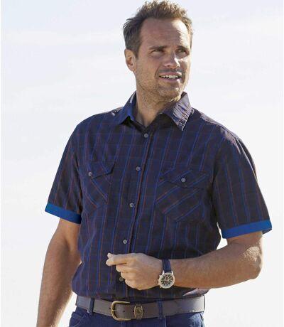 Men's Navy Checked Poplin Shirt - Short Sleeves
